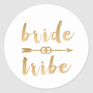elegant gold foil bride tribe arrow wedding rings classic round sticker