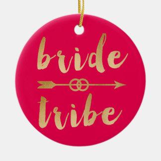 elegant gold foil bride tribe arrow wedding rings round ceramic decoration