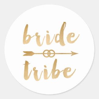 elegant gold foil bride tribe arrow wedding rings round sticker