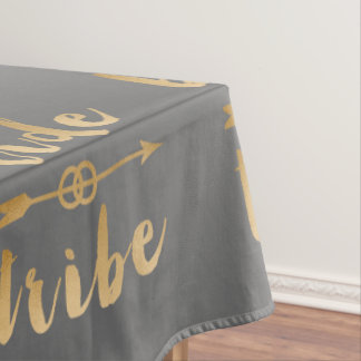 elegant gold foil bride tribe arrow wedding rings tablecloth