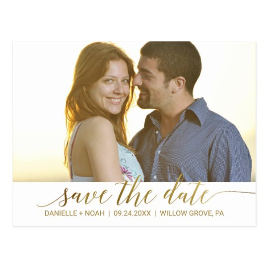 Elegant Gold Foil Calligraphy Save the Date Photo
