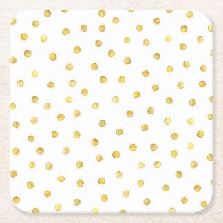 Elegant Gold Foil Confetti Dots Square Paper Coaster
