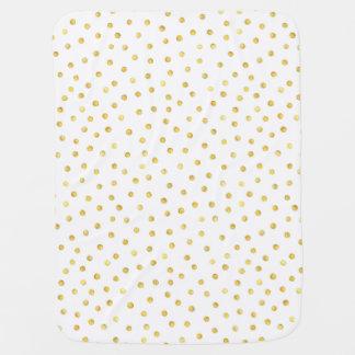 Elegant Gold Foil Confetti Dots Swaddle Blankets