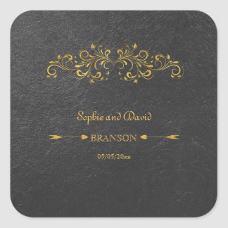 Elegant Gold Foil Flourish Black Wedding Square Sticker