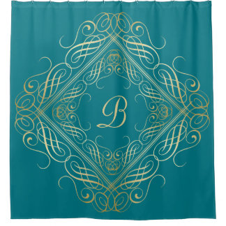 Elegant Gold Foil Look Scrollwork Script on Teal Shower Curtain
