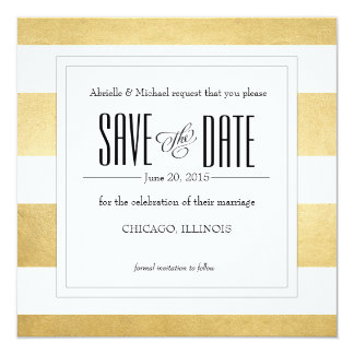 Elegant Gold Foil Modern Stripe Save the Date Card