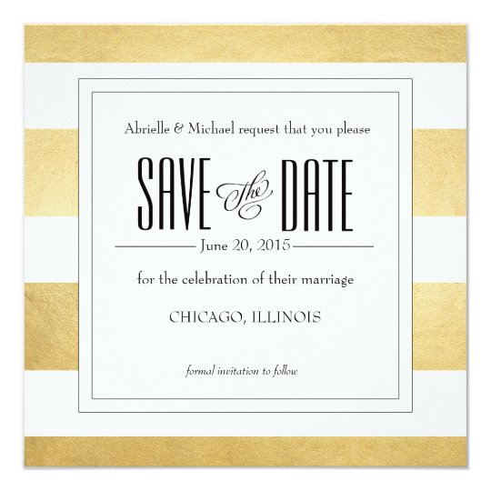 Elegant Gold Foil Modern Stripe Save the Date