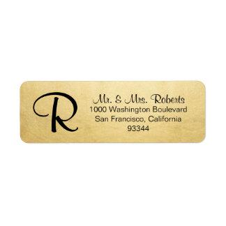 Elegant Gold Foil Monogram Letter Return Address
