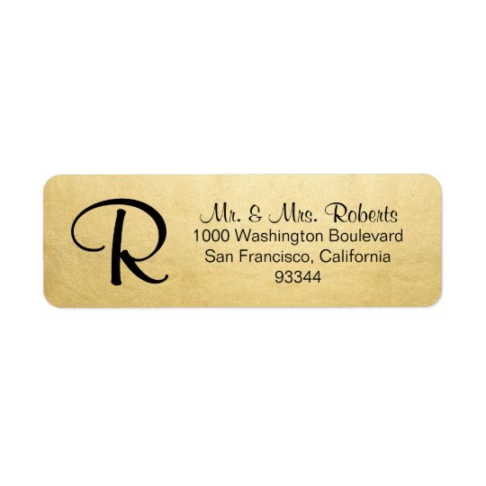 Elegant Gold Foil Monogram Letter Return Address