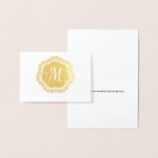 Elegant Gold Foil Monogram Note Card
