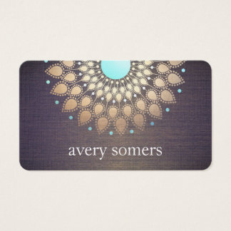 Elegant Gold Foil Ornate Leaf Mandala Wood Look Business Card