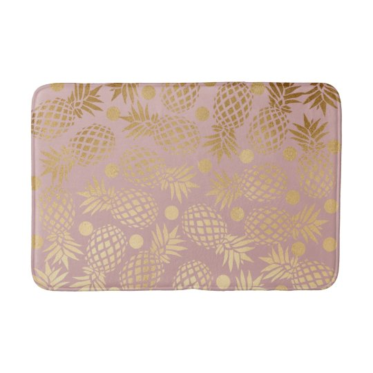 elegant gold foil pineapple polka dots pattern bath