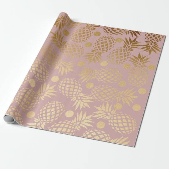 elegant gold foil pineapple polka dots pattern wrapping