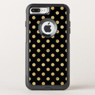 Elegant Gold Foil Polka Dot Pattern - Gold & Black OtterBox Commuter iPhone 8 Plus/7 Plus Case