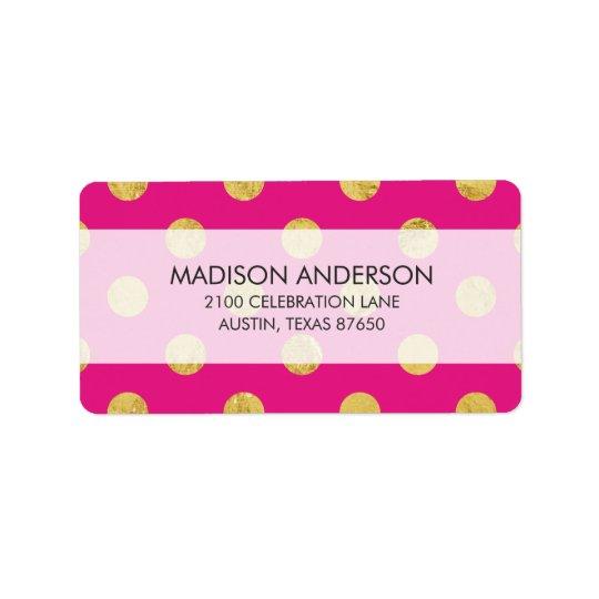 Elegant Gold Foil Polka Dot Pattern - Gold & Pink Address Label