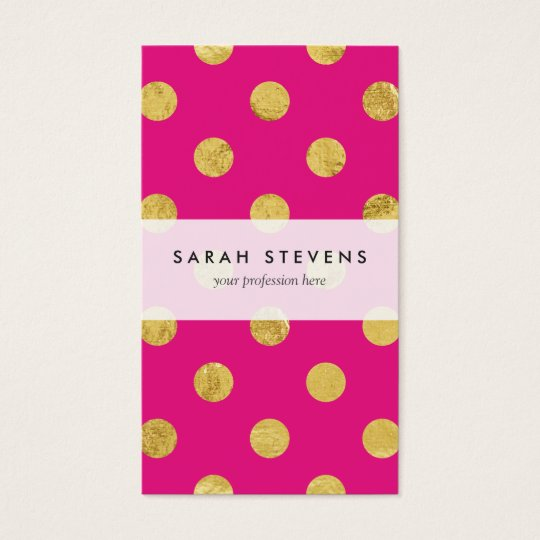 Elegant Gold Foil Polka Dot Pattern - Gold & Pink Business Card