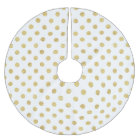 Elegant Gold Foil Polka Dot Pattern - Gold & White Brushed Polyester Tree Skirt