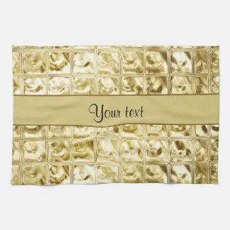 Elegant Gold Foil Squares Hand Towel