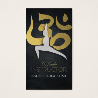 Elegant Gold Foil Yoga Meditation Pose Om Symbol Business Card