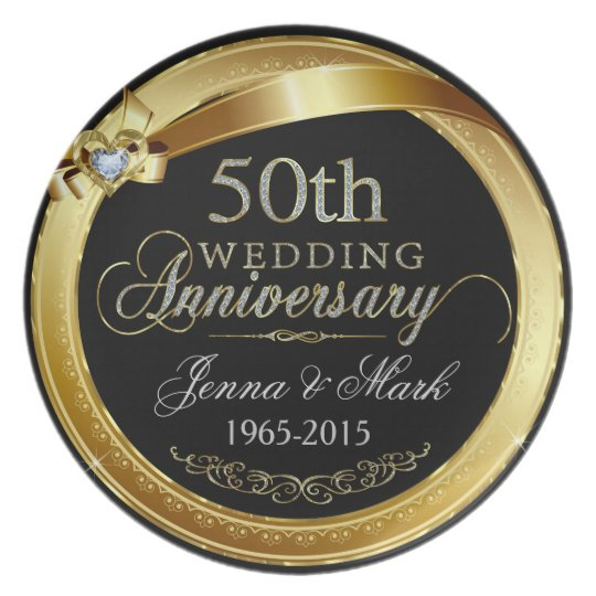 Elegant Gold Frame 50th Wedding Anniversary Plate