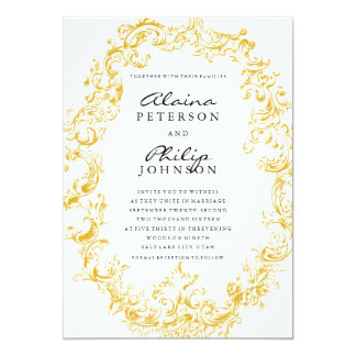 Elegant Gold Frame Wedding Invitation Template