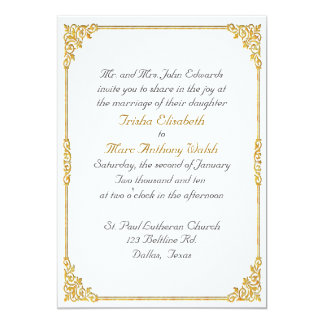 Elegant Gold Framed Wedding Invitation