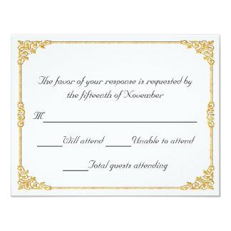 Elegant gold framed Wedding Response Card