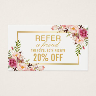 Elegant Gold Girly Floral Beauty Salon Referral Business Card