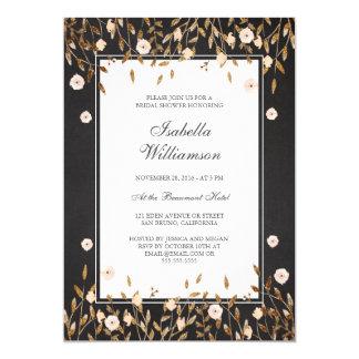 Elegant Gold Glit Floral Chalkboard Bridal Shower Card