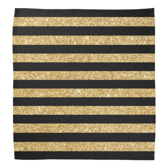 Elegant Gold Glitter and Black Stripe Pattern Bandana