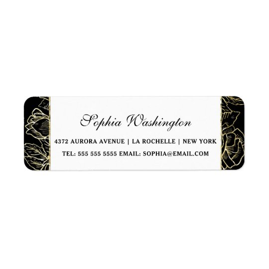 Elegant Gold Glitter & Black Wedding Address