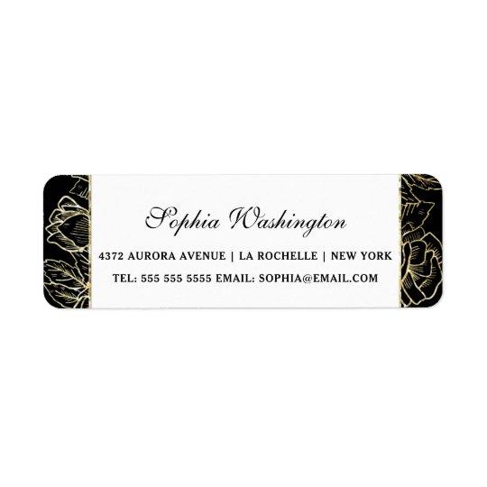 Elegant Gold Glitter & Black Wedding Address Return