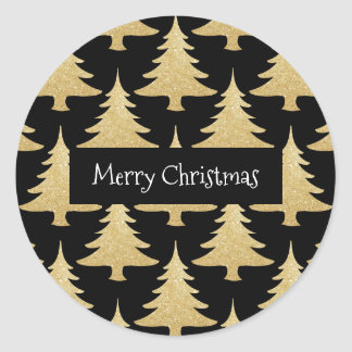 elegant gold glitter Christmas tree pattern black Classic Round Sticker