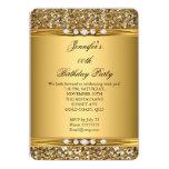 Elegant Gold Glitter Look Diamond Birthday Party 13 Cm X 18 Cm Invitation Card