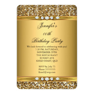 Elegant Gold Glitter Look Diamond Birthday Party 13 Cm X 18 Cm Invitation Card
