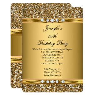 Birthday invitations zazzle elegant gold glitter look diamond birthday party invitation stopboris Image collections