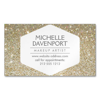 Elegant Gold Glitter Magnetic Business Card