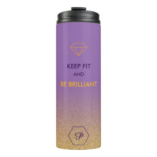 Elegant gold glitter monogram style fit quote thermal tumbler