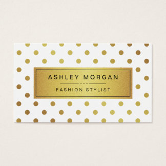 Elegant Gold Glitter Polka Dots Business Card