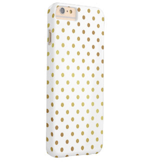 Elegant Gold Glitter Polka Dots Pattern Barely There iPhone 6 Plus Case