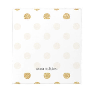 Elegant Gold Glitter Polka Dots Pattern Notepads
