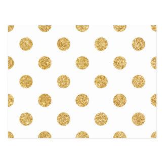 Elegant Gold Glitter Polka Dots Pattern Postcard