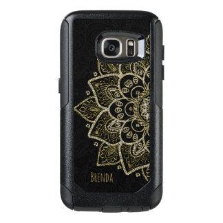 Elegant Gold Glitter Print Mandala & Monogram OtterBox Samsung Galaxy S7 Case