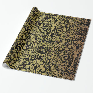 Elegant Gold Glitter Royal Black Damask Wrapping Paper