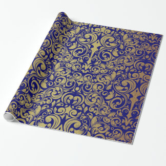 Elegant Gold Glitter Royal Blue Damask Gift Wrapping Paper
