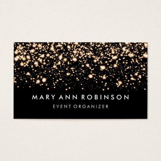 Elegant Gold Glitter Sparkles Event Organiser Business Card