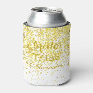 Elegant Gold Glitter Wedding Bride Tribe Can Cooler