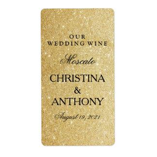 Elegant Gold Glitter Wedding Wine Label