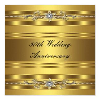 Elegant Gold Golden 50th Wedding Anniversary 13 Cm X 13 Cm Square Invitation Card
