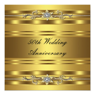 Elegant Gold Golden 50th Wedding Anniversary Personalized Invites
